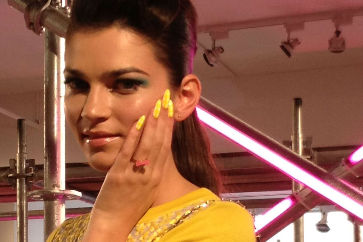 Long, lemon yellow, and pointy: The nails of kate spade new york Spring 13. Courtesy photo