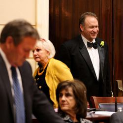 Sen. Mark Madsen, R-Saratoga Springs, wears a tuxedo at the last night of the Legislature at the Capitol in Salt Lake City on Thursday, March 12, 2015.