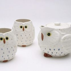 """Off-duty, this <a href=""""http://www.premiumsteap.com/p-25-owlet.aspx"""">Ceramic Owl Tea Set</a> ($52 at Steap on 18th Street) will look adorable perched on a kitchen shelf."""