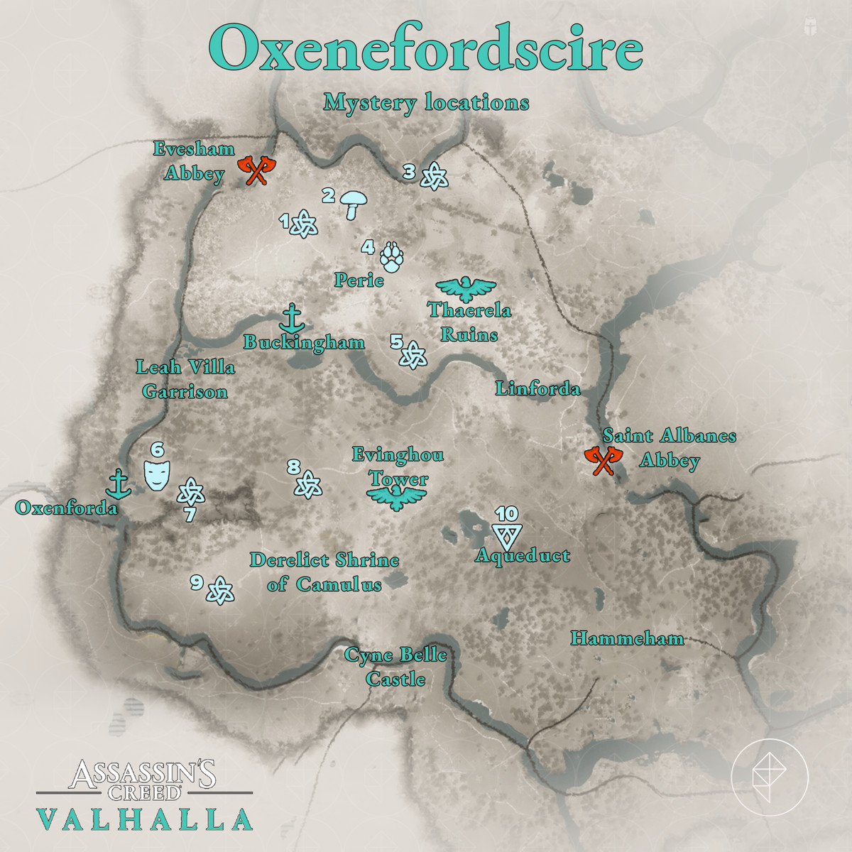 Oxenefordscire Mysteries locations map