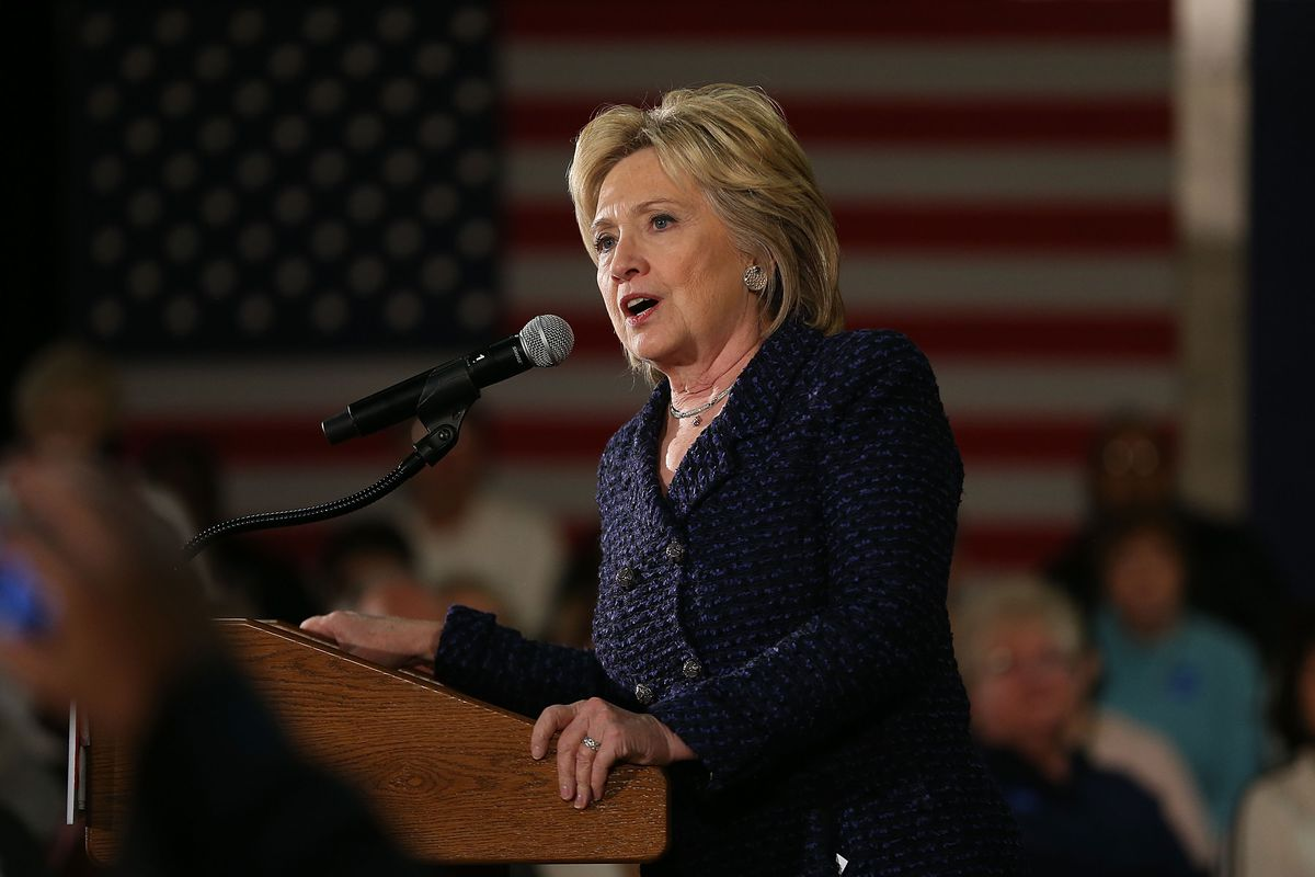 Democratic presidential candidate Hillary Clinton speaks during a campaign stop at the Electric Park Ballroom on January 11, 2016, in Waterloo, Iowa.
