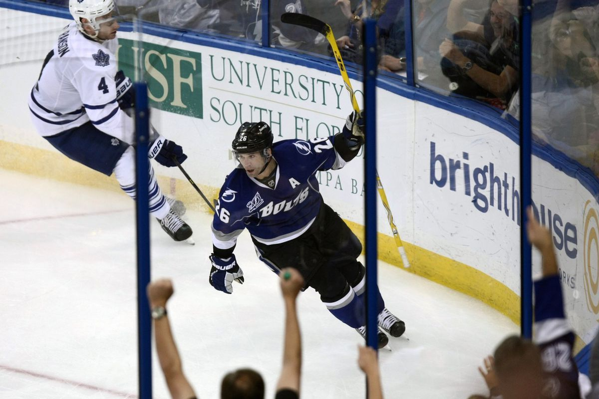 Lightning forward and league-leading scorer Martin St. Louis celebrates after scoring his third goal of the night in a 5-2 win over Toronto