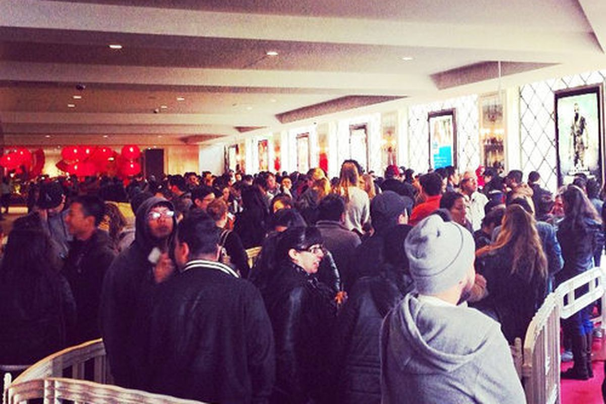 """Cronut line. Image via <a href=""""http://la.racked.com/archives/2014/03/03/madness_inside_barneys_epic_cronuts_popup_at_the_grove.php"""">Racked LA</a>"""