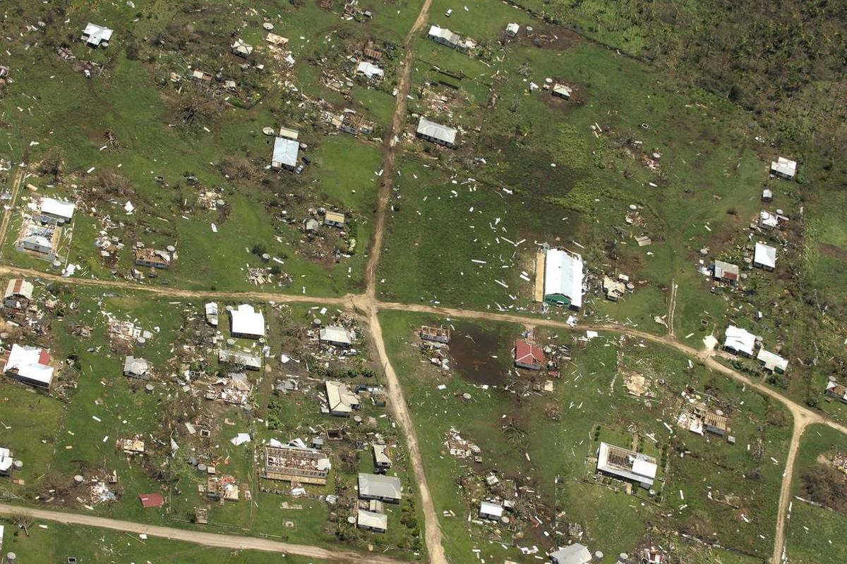 This aerial photo released by the Royal New Zealand Air Force, taken on Saturday, Jan. 11, 2014, shows the damage to Ha'apai island group, in Tonga, following Cyclone Ian. Tongan officials said about 300 to 400 families had their homes severely damaged or