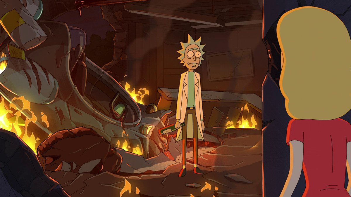 """Rick staring at his daughter Beth in front of a crashed spaceship in S510 """"Rickmurai Jack"""""""