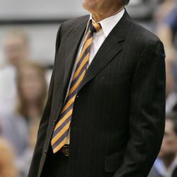 Utah Jazz coach Jerry Sloan reacts to his team turning over the ball to the Cleveland Cavaliers during the first quarter of an NBA basketball game Wednesday, Nov. 7, 2007, in Salt Lake City.