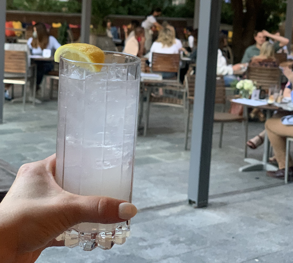 A hand holding a clear colored cocktail with a lemon slice