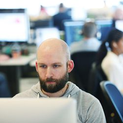 Vivint's Bryan Rees works at the office in Lehi on Wednesday, March 23, 2016. Salt Lake County's population of 1.1 million is almost double that of Utah County, the state's next most populous county. But Utah County could soon be gaining a larger number of people each year than its neighbor to the north thanks to a thriving tech industry and overall economic opportunity that bring in a steady stream of new residents.