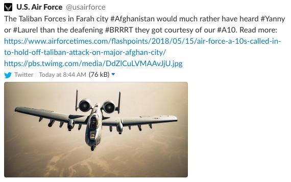 Screenshot of the Air Force tweet.