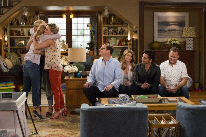 "Bob Saget (center) and the reunited cast of ""Fuller House."" NETFLIX"