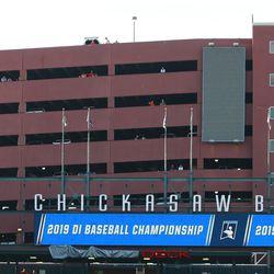 The Oklahoma State Cowboys take on the UConn Huskies in the Oklahoma City NCAA Baseball Regional at Chickasaw Bricktown Ballpark in Oklahoma City, OK on June 2, 2019.