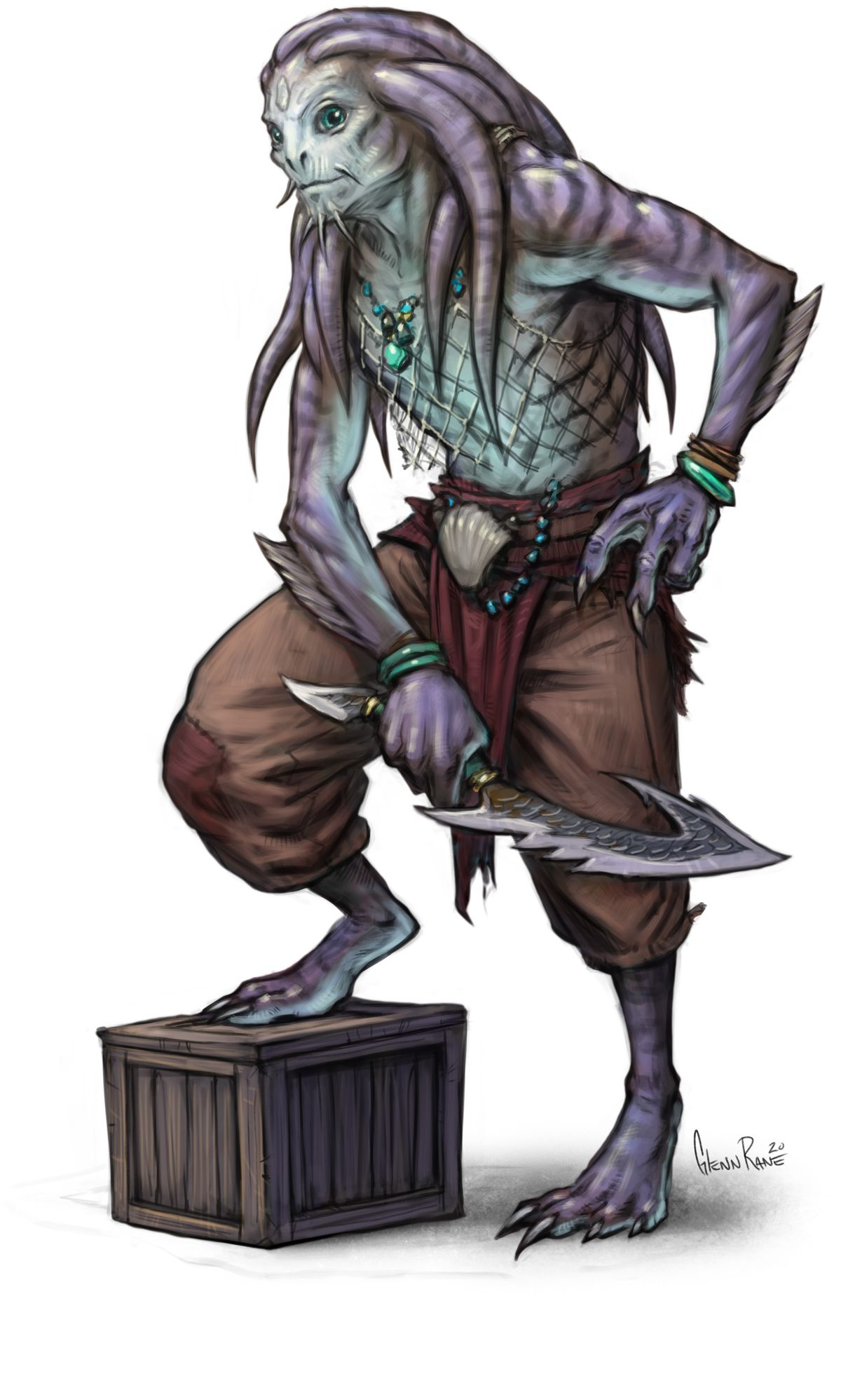 A scaly man with tentacles for hair stands in battered parachute pants on a crate.