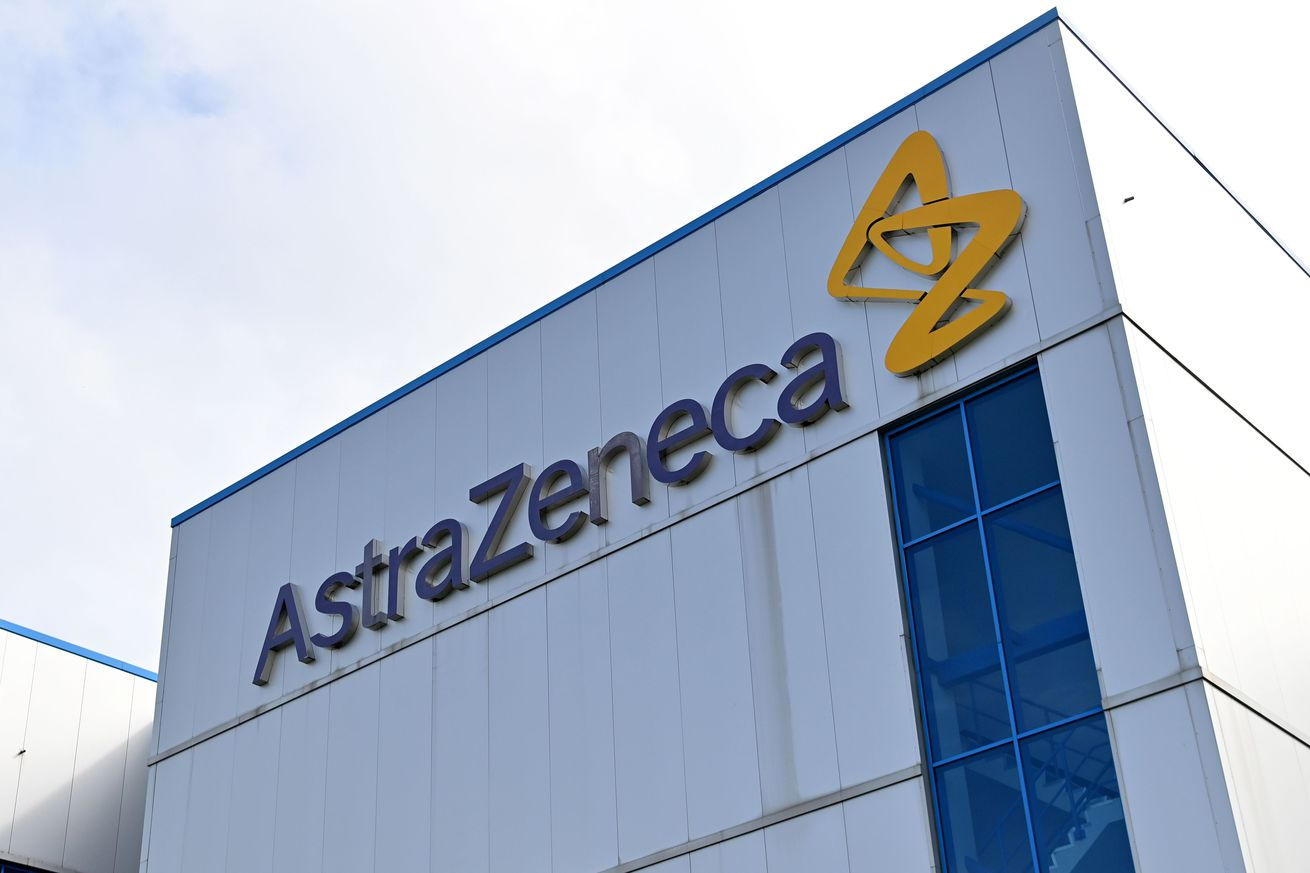 An AstraZeneca logo on a building