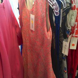 Peach and tan flare dress, $85