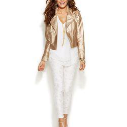 "Thalia Sodi Metallic Faux-Leather Moto Jacket, <a href=""http://www1.macys.com/shop/product/thalia-sodi-faux-leather-jacket-necklace-blouse-metallic-print-pants?ID=1941612&CategoryID=69907#fn=sp%3D1%26spc%3D102%26ruleId%3D%26slotId%3D19"">$89.50</a>."