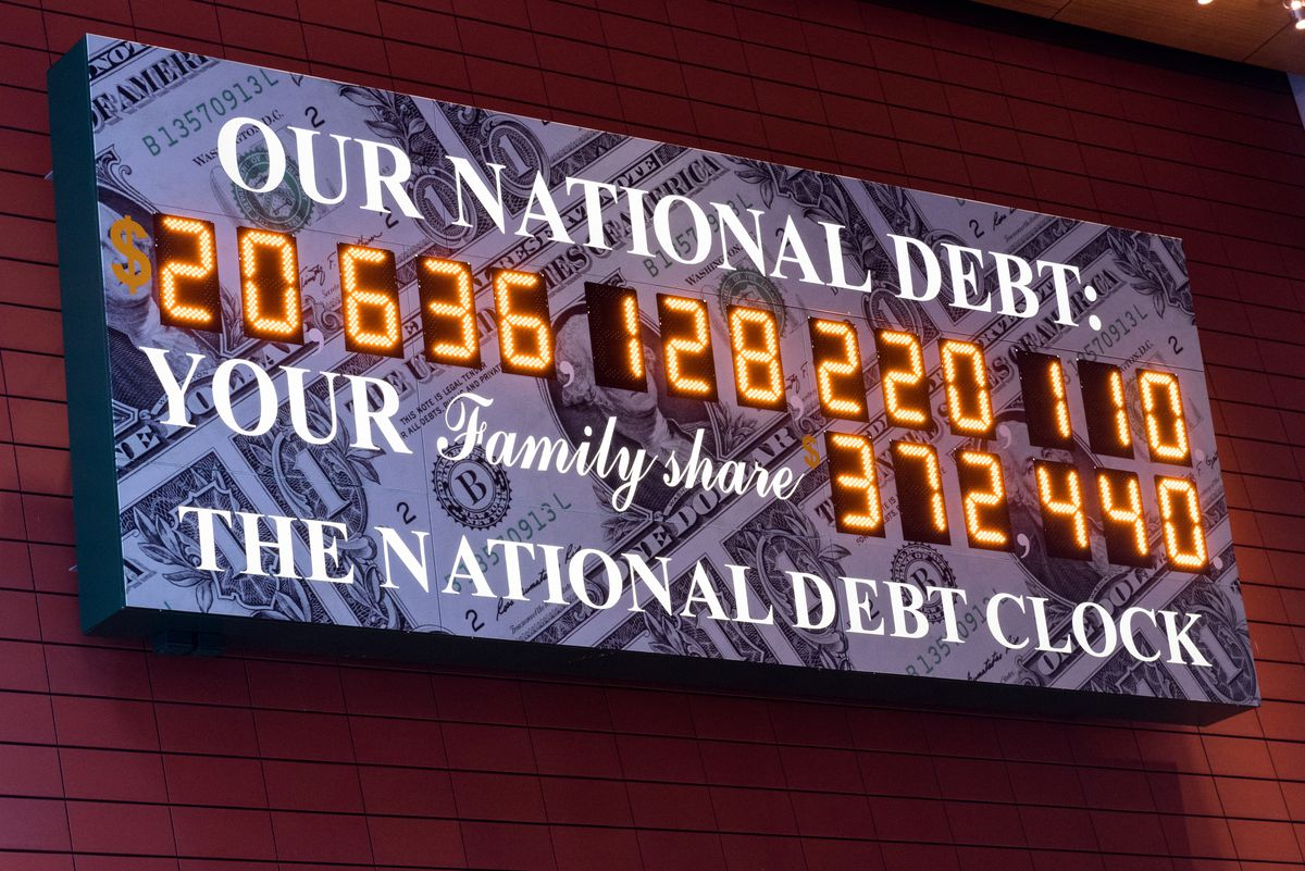 The National Debt Clock of the current gross national debt of the United States on March 23, 2018.