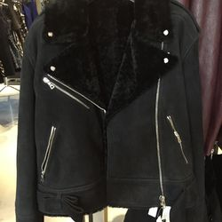 Moto jacket with shearling collar, $1,455 (was $4,850)