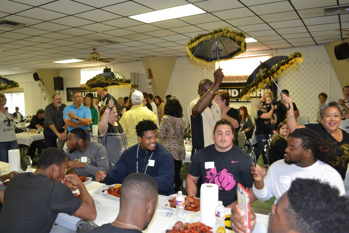 NEW ORLEANS, LA - New Orleans Saints rookies Tre'Quan Smith (left), Marcus Davenport (center), and Henry Mondeaux (right) are introduced at the annual Rookie Crawfish Boil presented by the Touchdown Club of New Orleans.
