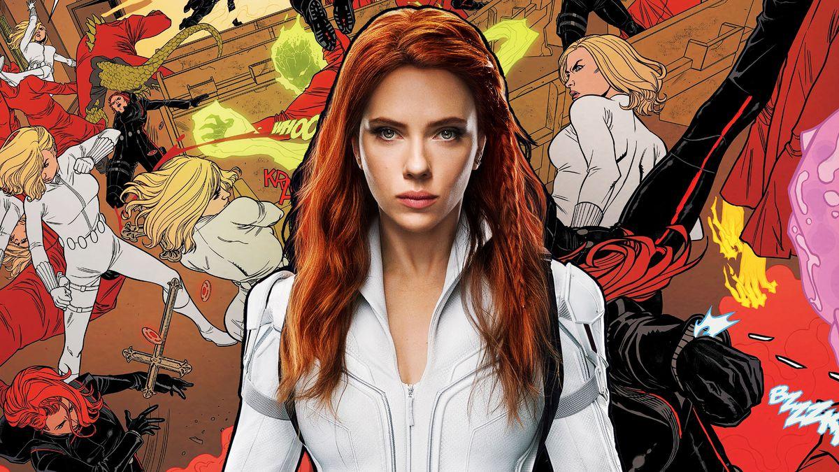 Scarlett Johansson as Black Widow on a comic art background