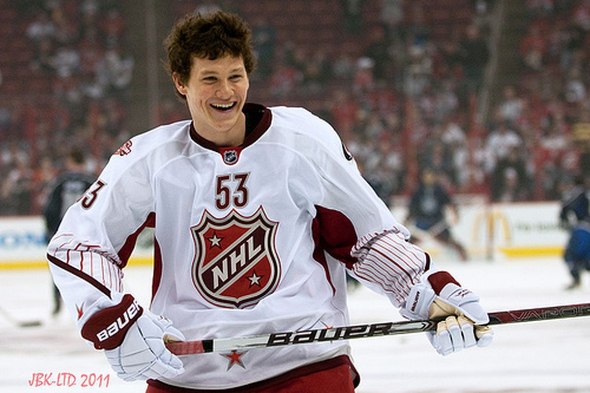Carolina Hurricanes rookie Jeff Skinner becomes the youngest player in NHL history to participate in an NHL All-Star Game on January 30, 2011.  (author's photo)