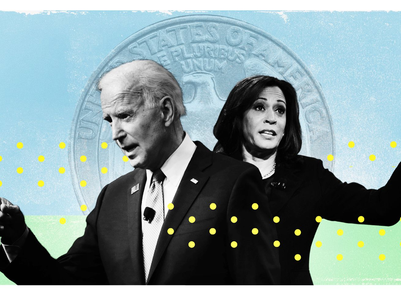 Photo illustration of Biden and Harris.