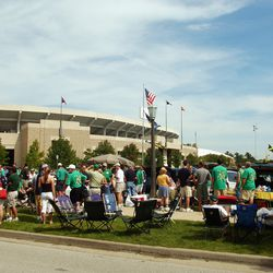 SOUTH BEND, IN - SEPTEMBER 11: Fans tailgate before a game between the Notre Dame Fighting Irish and the Michigan Wolverines on September 11, 2004 at Notre Dame Stadium in South Bend, Indiana. Notre Dame defeated Michigan 28-20.