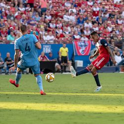 Jesus Ferreira shoots from the top of the box in the second half of the match against New York City FC.