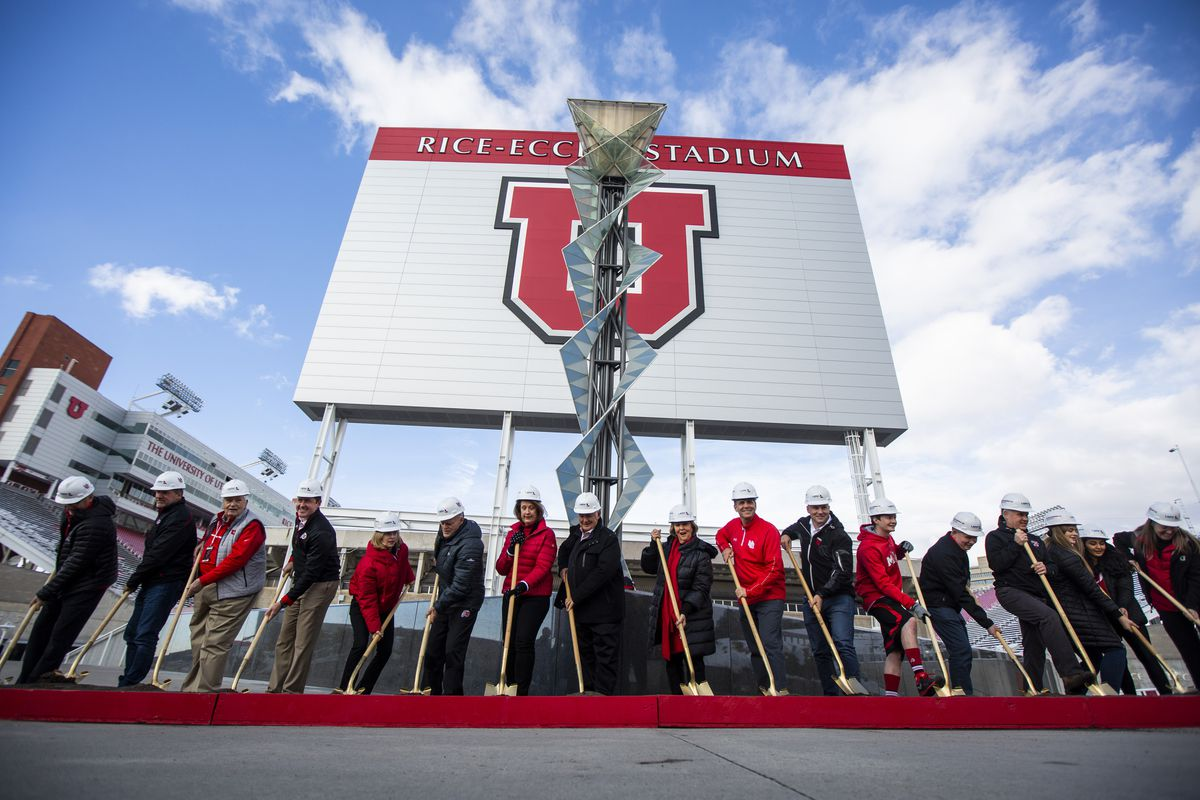 University members and donating families participate in the groundbreaking ceremony for the new Ken Garff Performance Zone before the start of an NCAA football game between the Utah Utes and Colorado Buffaloes at Rice-Eccles Stadium in Salt Lake City on Saturday, Nov. 30, 2019.
