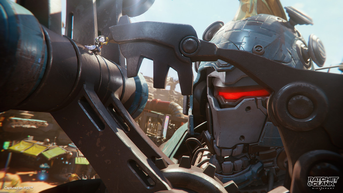 Rivet meets up with a giant robot in Ratchet & Clank: Rift Apart