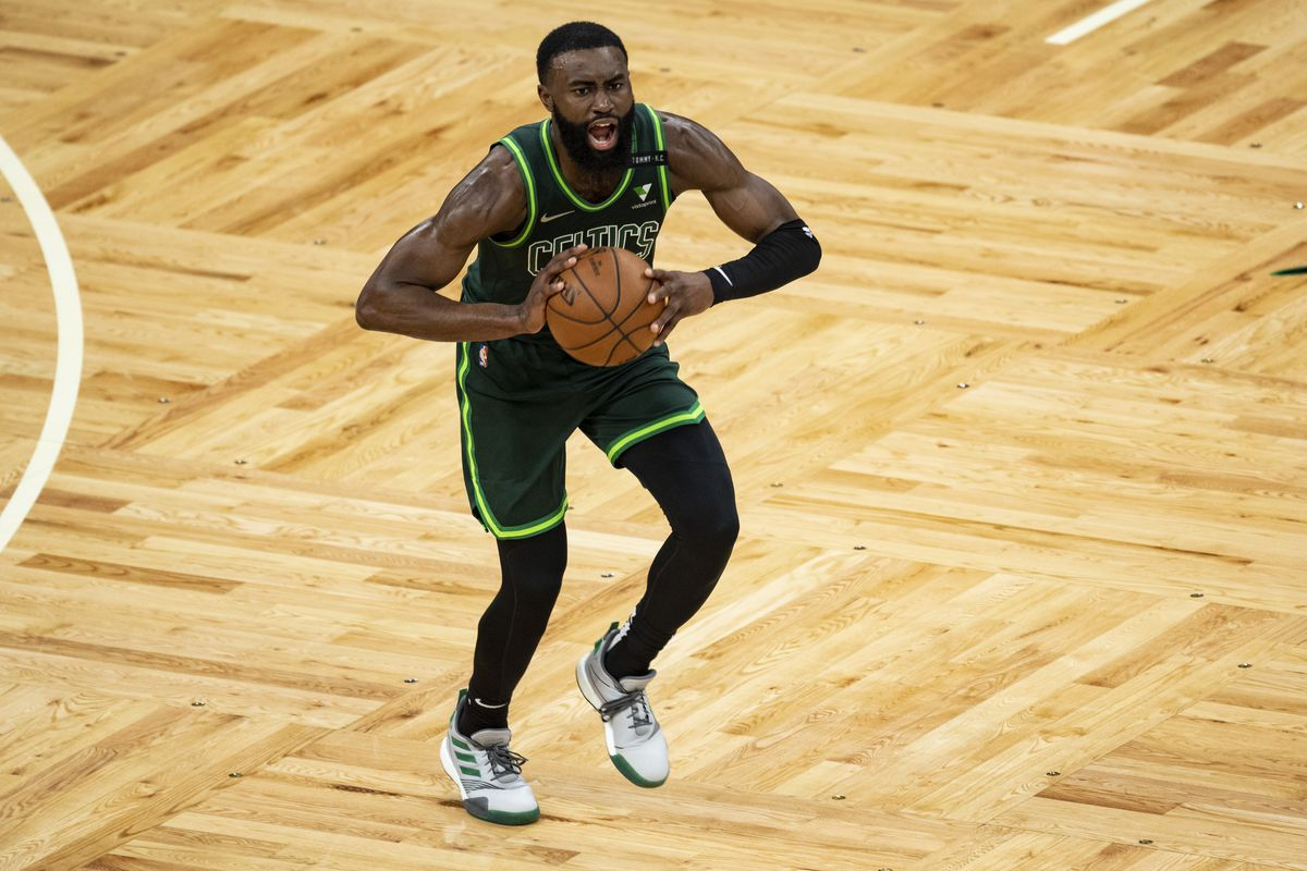 Jaylen Brown of the Boston Celtics reacts as he looks to pass during the second half against the Portland Trail Blazers at TD Garden on May 02, 2021 in Boston, Massachusetts.