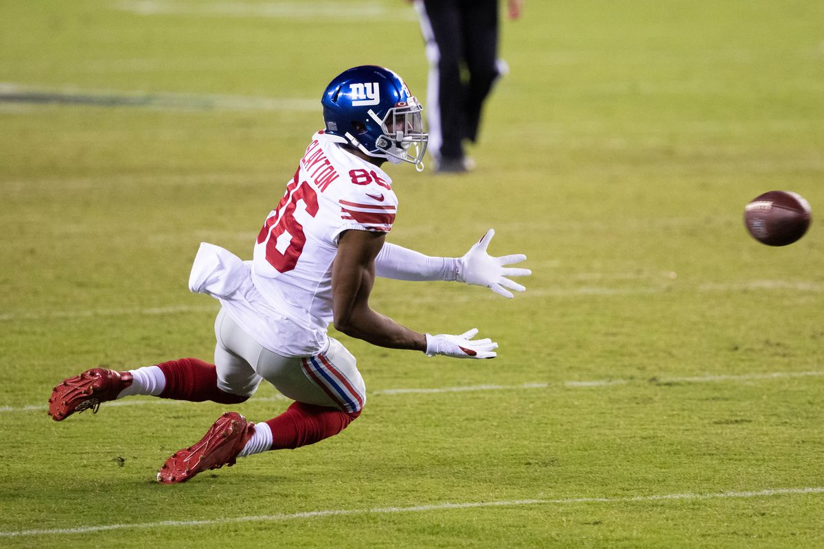 New York Giants wide receiver Darius Slayton makes a catch against the Philadelphia Eagles during the fourth quarter at Lincoln Financial Field.