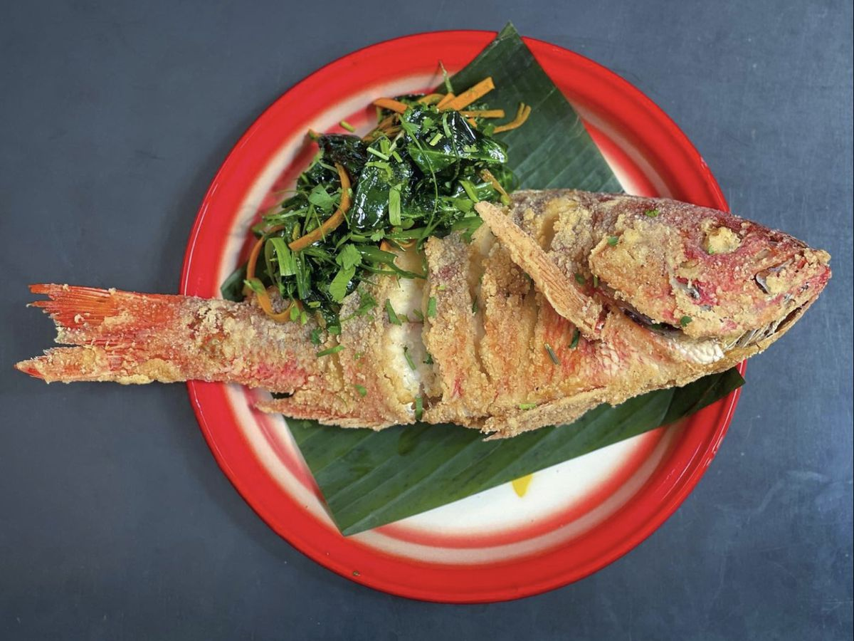 Whole fried fish from Liholiho Yacht Club