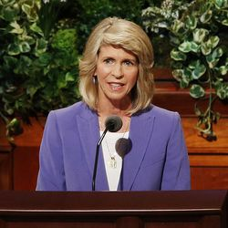 Sister Carol F. McConkie, first counselor in the Young Women general presidency of The Church of Jesus Christ of Latter-Day Saints, speaks during the General Women's Session of the 187th Annual General Conference in the Conference Center in Salt Lake City on Saturday, March 25, 2017.