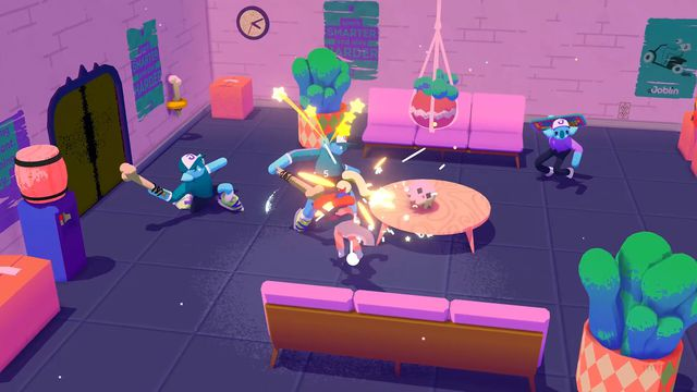 isometric view of cartoon characters in a cloud-of-dust fight in Going Under