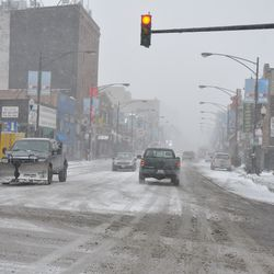 Looking south on Clark from Addison during the afternoon snowstorm