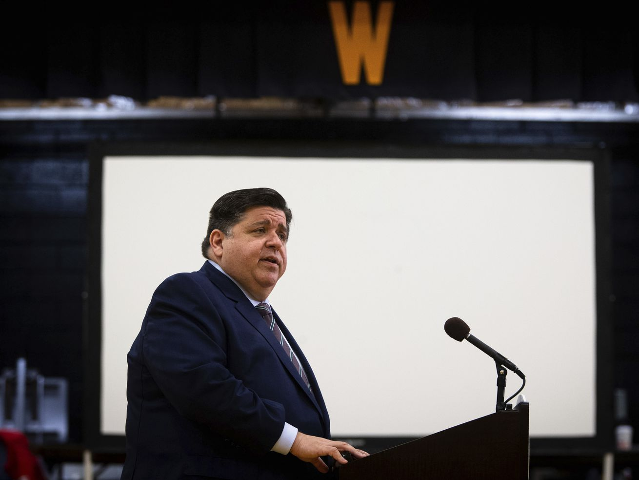 Gov. J.B. Pritzker at George Washington Middle School in Springfield on Tuesday.