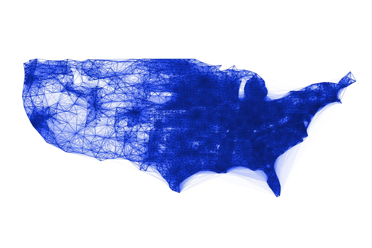 A Facebook co-location map for the United States. It could help illustrate the likeliness of the disease to spread.
