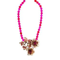 """Florence fuchsia beaded <a href=""""http://www.aftershockplc.us/accessories/florence-grey.html"""">necklace</a>, $120"""