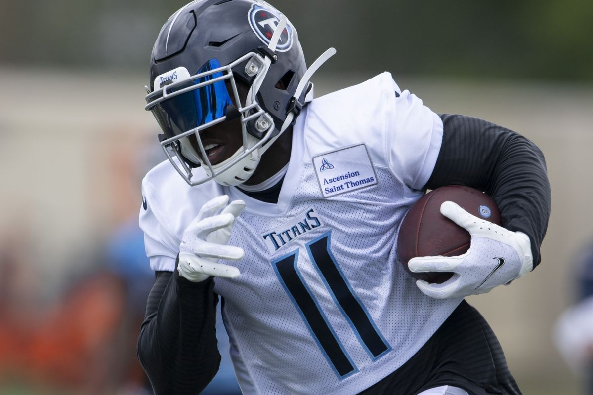 Tennessee Titans wide receiver A.J. Brown (11) races up the field with the ball during a training camp practice at Saint Thomas Sports Park Friday, Aug. 14, 2020 in Nashville, Tenn.