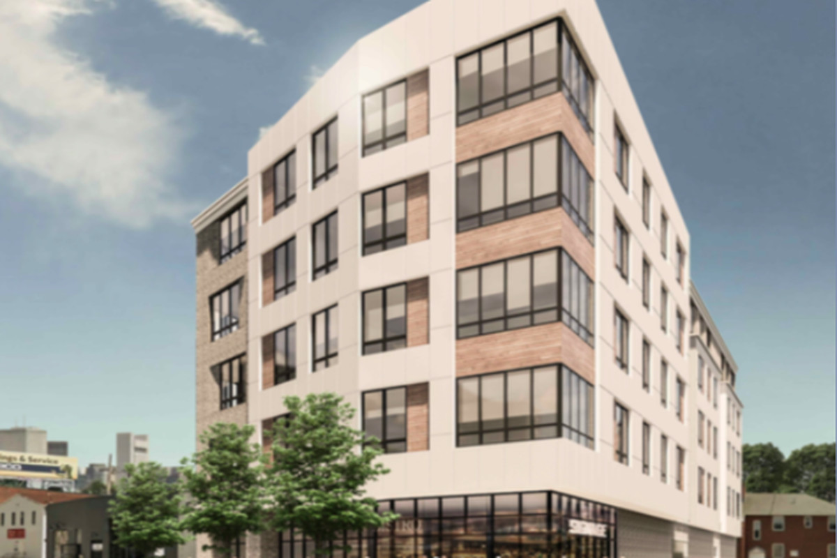 Rendering of a five-story, boxy apartment building.