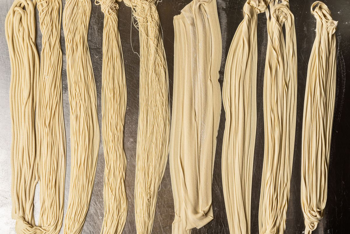 Nine different kinds of hand-pulled noodles for Lanzhou beef noodle soup.