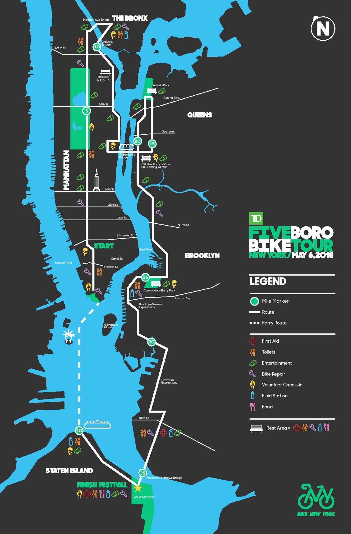 Bike New York Map.Td Five Boro Bike Tour Map Road Closures Start Times And More