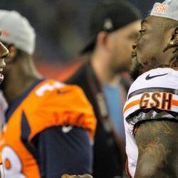 Broncos ILB Brandon Marshall (left) and former Bronco and current Bear Danny Trevathan talk after the Broncos/Bears preseason game.