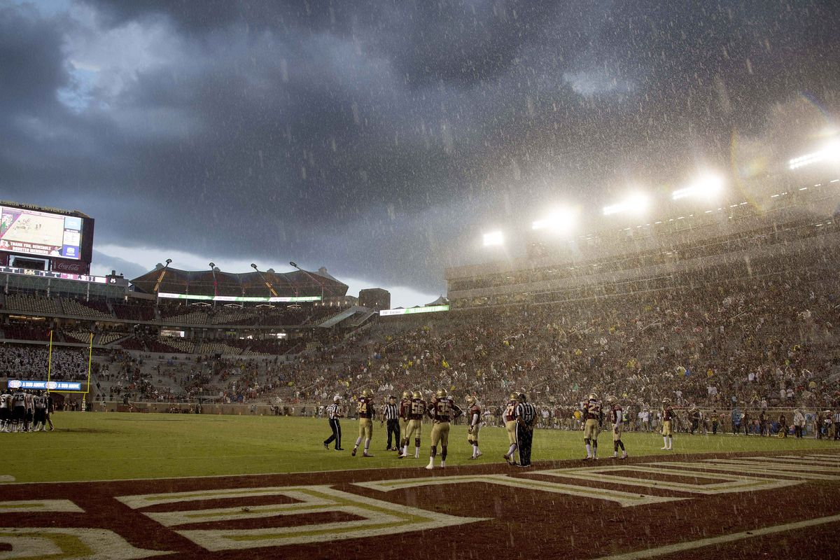 A general view of Doak Campbell Stadium during the forth quarter of the game between the Wake Forest Demon Deacon and the Florida State.
