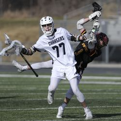 Corner Canyon plays Viewmont in the Battle at the Beet boys lacrosse tournament at Jordan High School in Sandy on Friday, March 12, 2021.