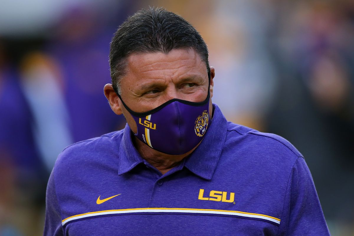 Head coach Ed Orgeron of the LSU Tigers reacts against the South Carolina Gamecocks during a game at Tiger Stadium on October 24, 2020 in Baton Rouge, Louisiana.