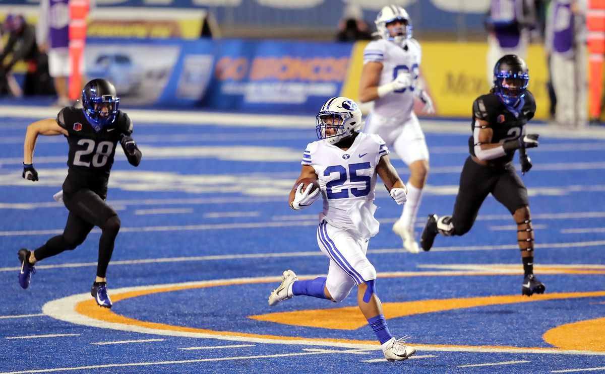 BYU running back Tyler Allgeier rushed for more than 1,000 yards in 2020, is back for more in 2021.