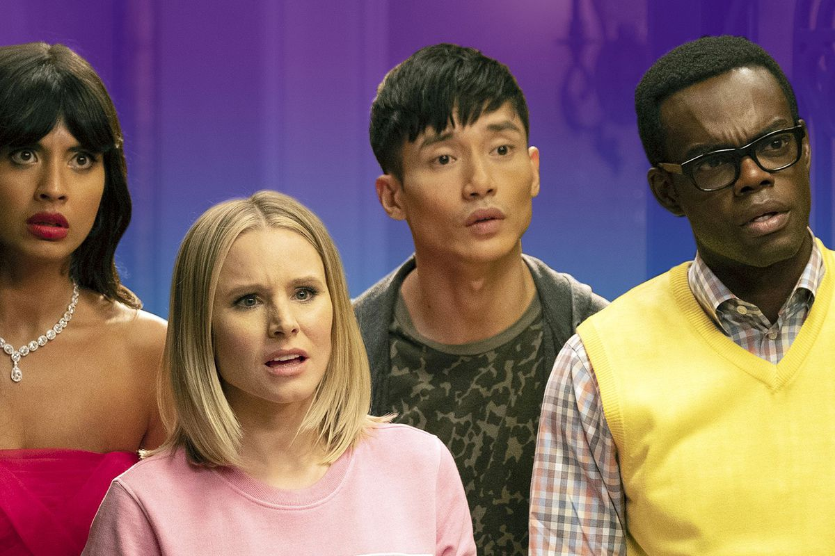 """Lead characters from """"The Good Place"""" TV show"""