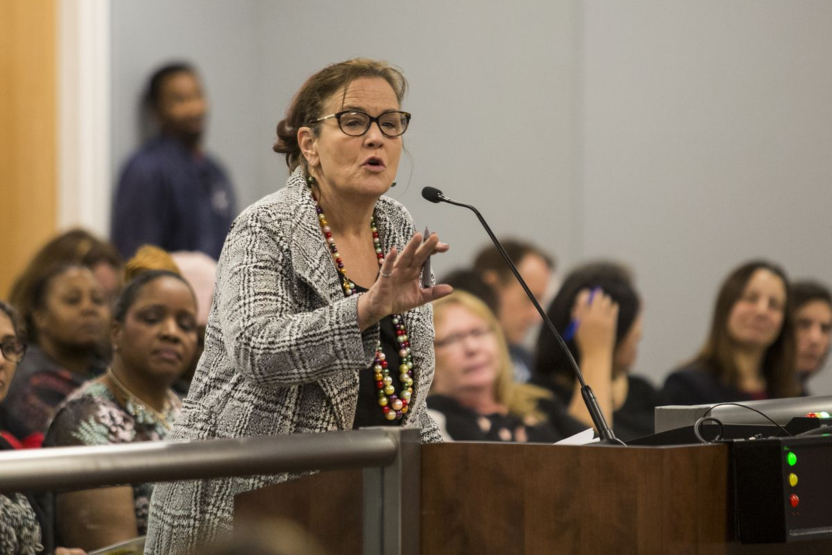 Ald. Susan Sadlowski Garza (10th) speaks during a Chicago Board of Education meeting at Chicago Public Schools headquarters last year.