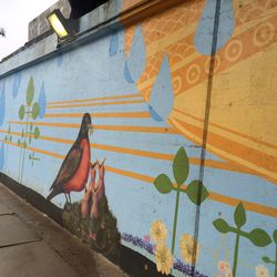 Robins are part of this underpass mural on Elston Avenue in Forest Glen.